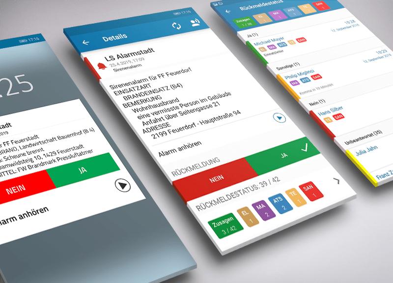 Screenshtots von blaulichtSMS - einer App für Feuerwehralarme